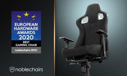 """noblechairs EPIC a """"European Hardware Awards 2020"""" gamer szék kategóriájának nyertese"""