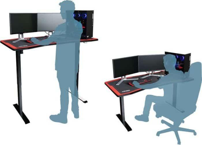 Gamer asztal Nitro Concepts D16E 1600 x 800 mm Carbon Red Elektromosan állítható