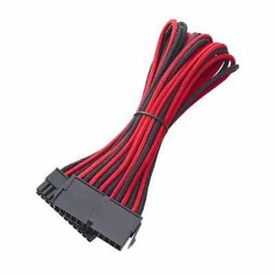 Kábel Táp Hosszabbító BitFenix 24-Pin ATX 30cm Harisnyázott Fekete/Piros/Fekete