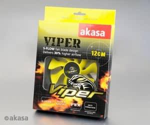 Ventilátor Akasa Viper PWM 12cm Fekete/Sárga