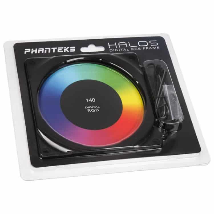 Ventilátor rács PHANTEKS Halos Digital 14cm RGB led Alu Fekete